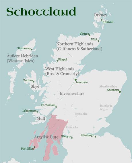 Karte Regionen Argyll and Bute