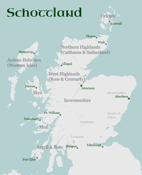 Die Regionen Der Highlands In Schottland