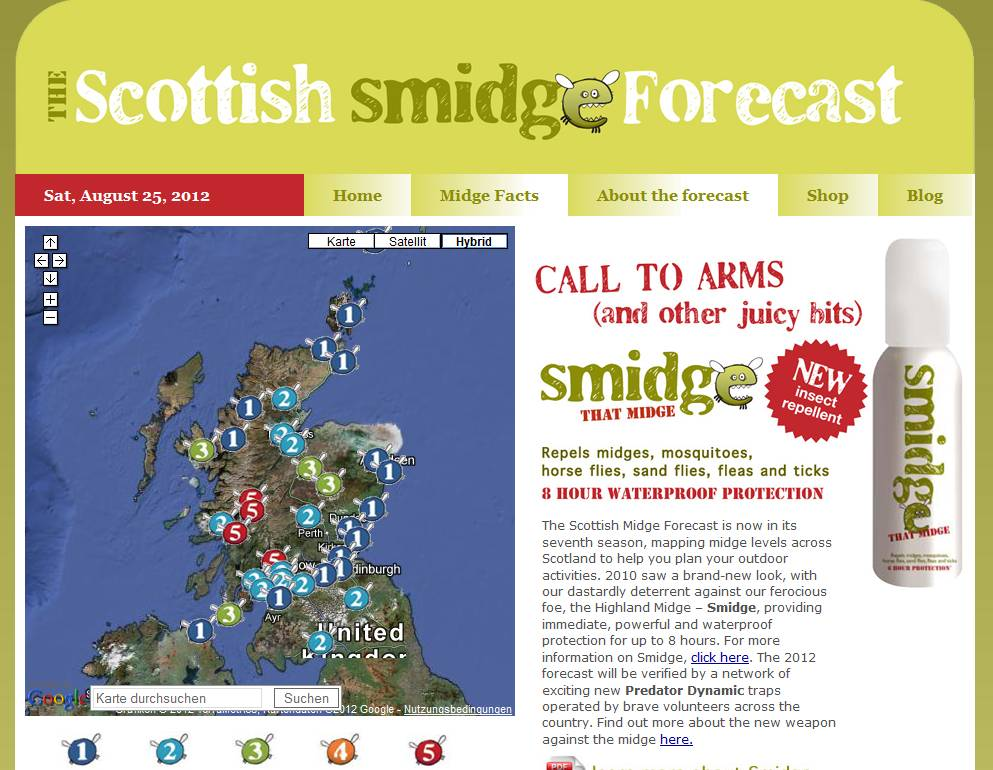 Scottish Midge Forecast Screenshot