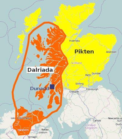 Ungefähre Ausdehnung Dalriadas um 600 n. Chr.