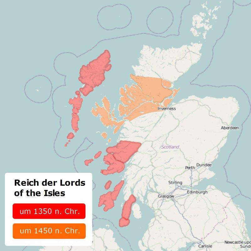 Karte des Reichs der Lords of the Isles - Quelle Schottland-Karte: Openstreetmap.org