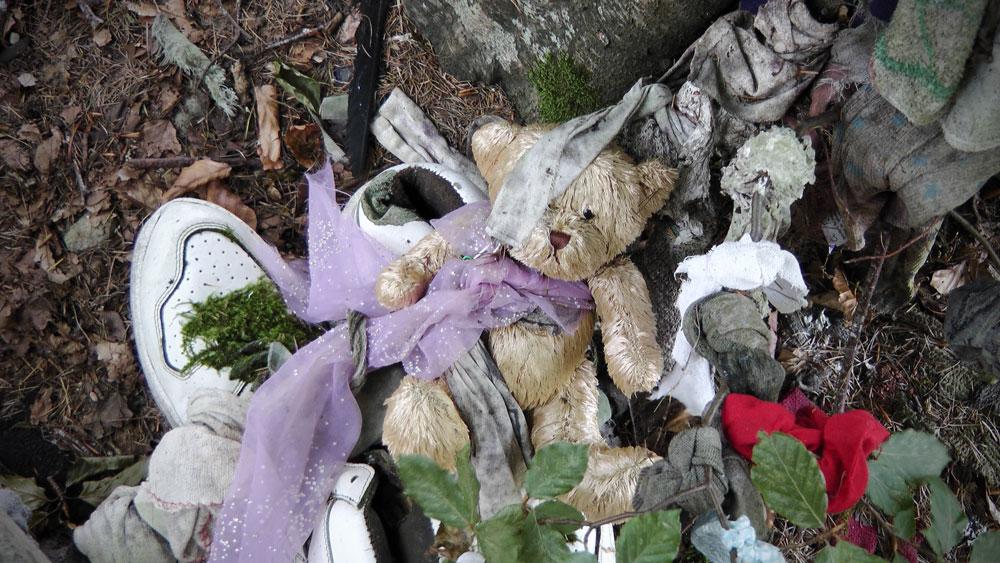 Ein Teddy bei der Clootie Well
