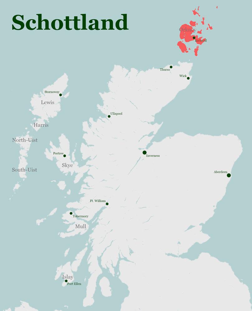 Karte Schottland Orkneys