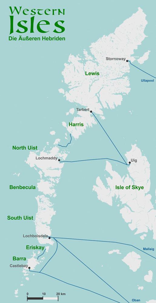 Äußere Hebriden - einzelne Inseln
