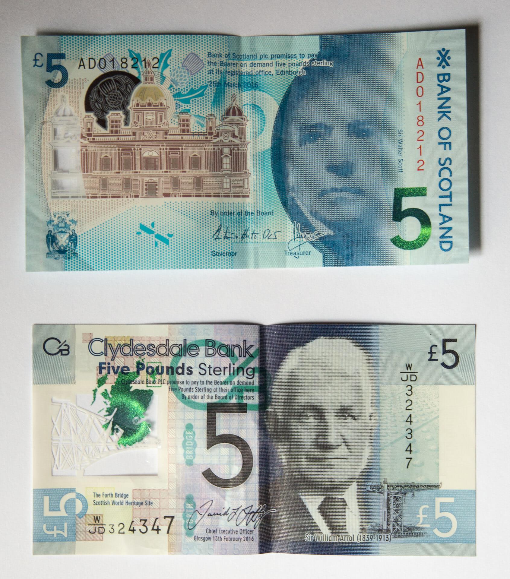 Neue Five-Pound-Note der Clydesdalebank