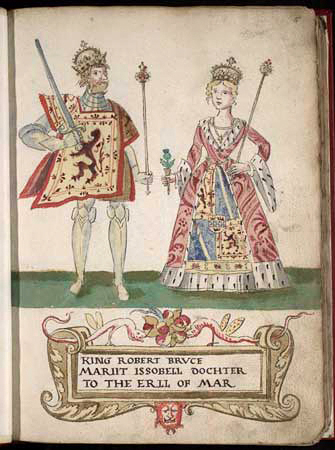"""Robert I and Isabella of Mar"" von Forman Armorial (produced for Mary, Queen of Scots) - This image is available from the National Library of Scotland under the sequence number or Shelfmark ID Adv.MS.31.4.2, fol.9r. Lizenziert unter Public domain über Wikimedia Commons"