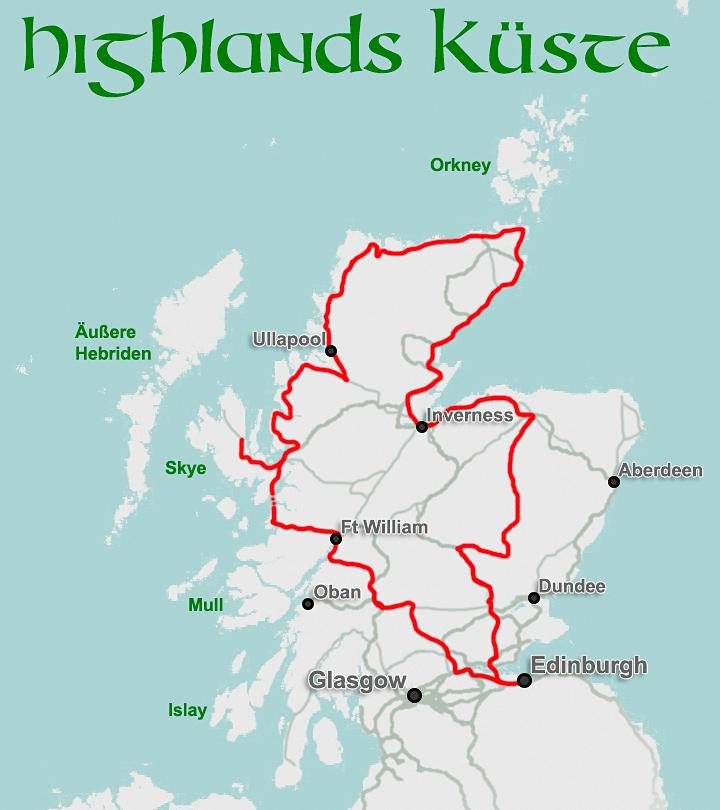 Karte Schottland Autorundreise Highlands Kueste