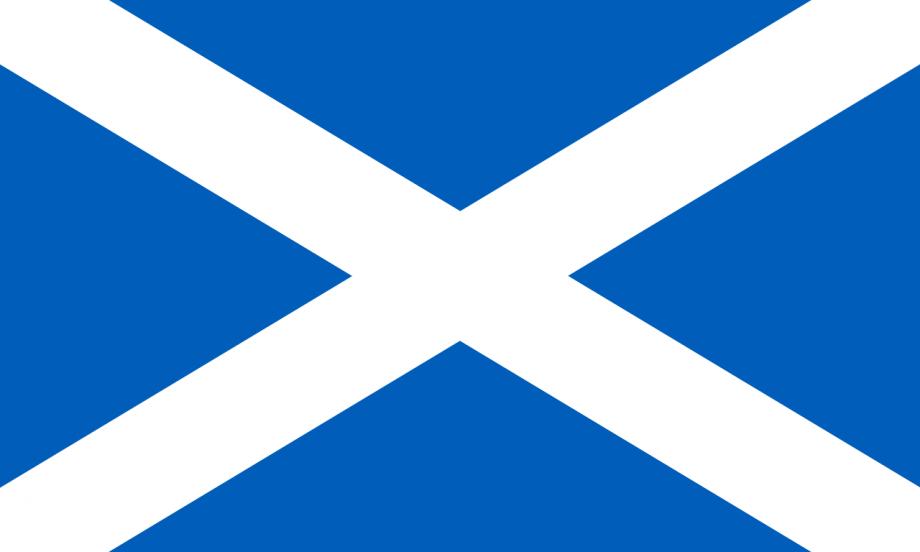 Schottlands Flagge, Maße 5:3 mit Pantone 300 Hintergrundfarbe
