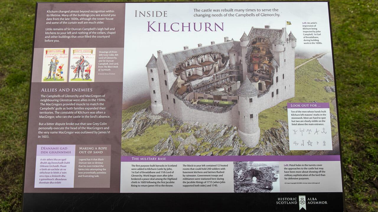 Eine Infotafel zeigt die Burg voll ausgebaut