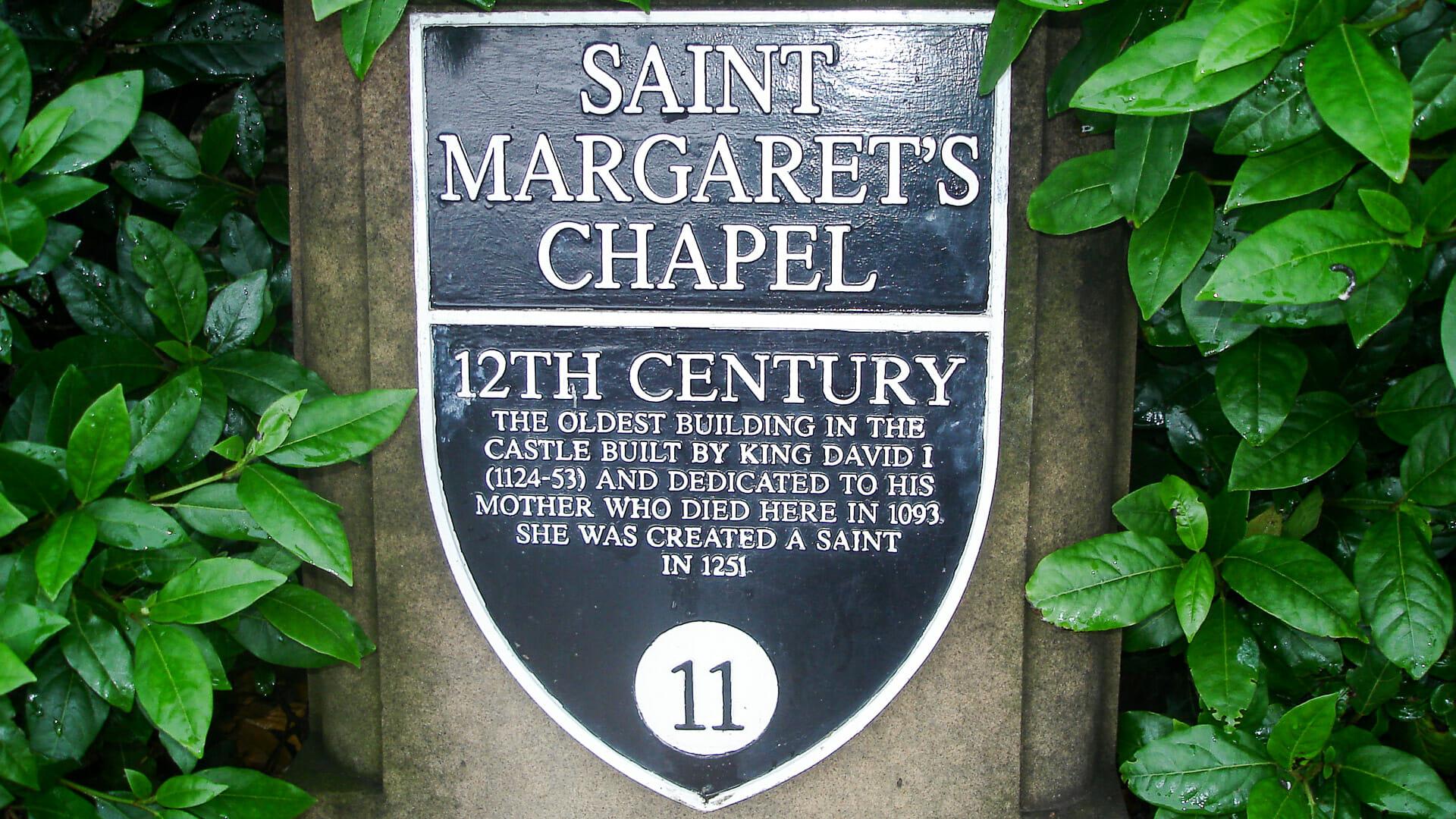 Plakette St Margaret's Chapel