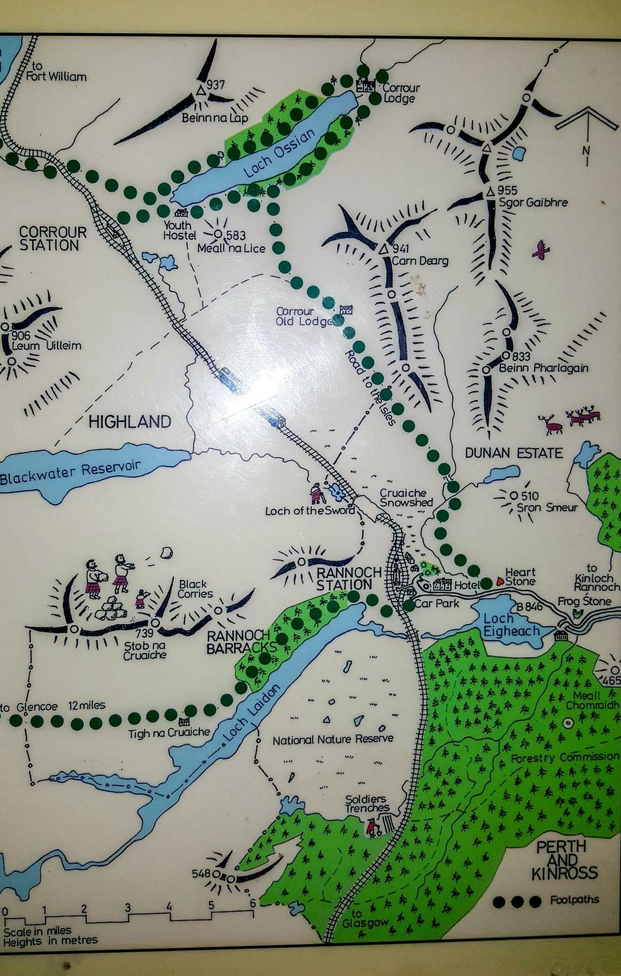 Karte Umgebung Rannoch-Station
