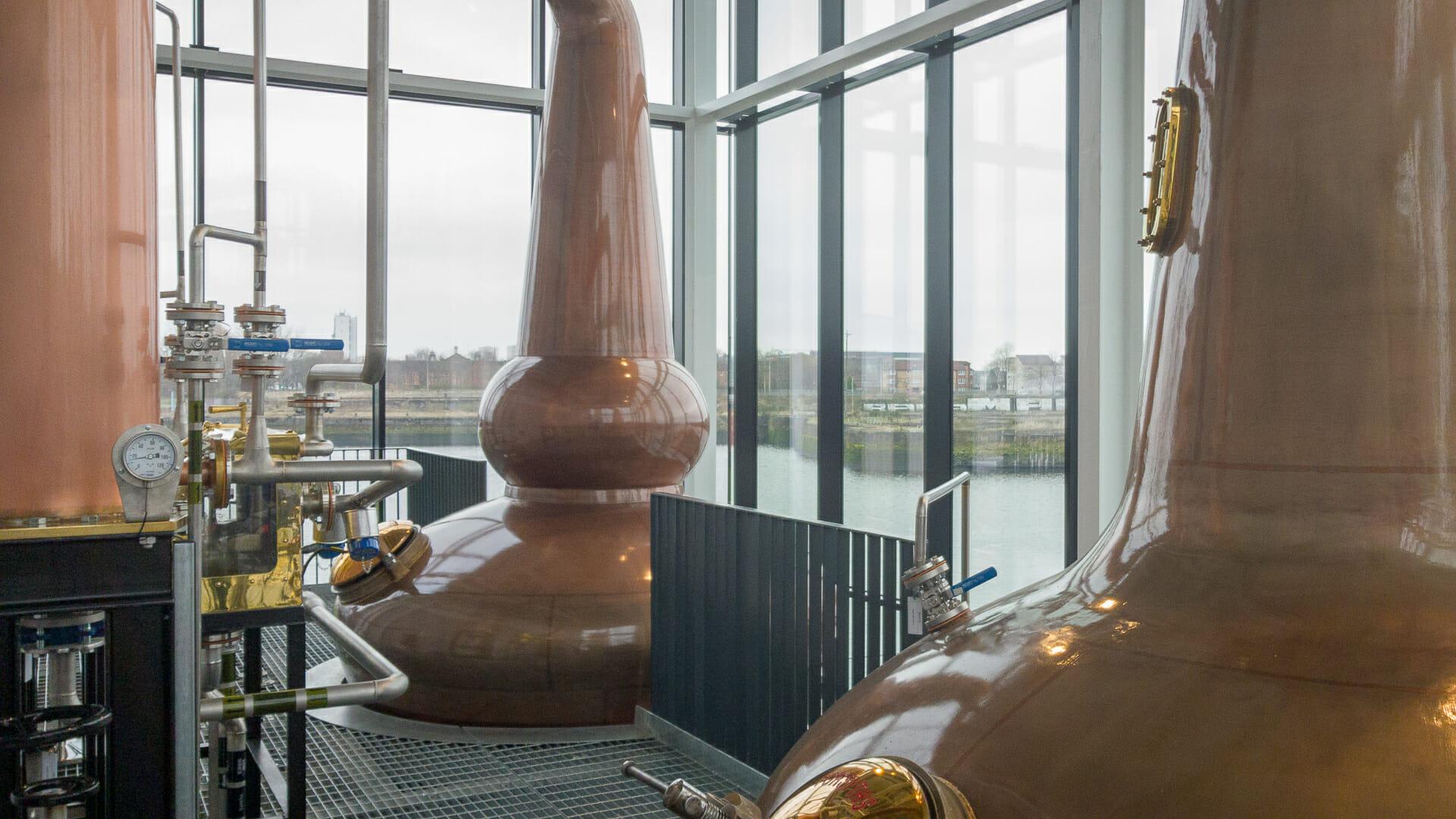 Brennblasen der Clydeside Distillery