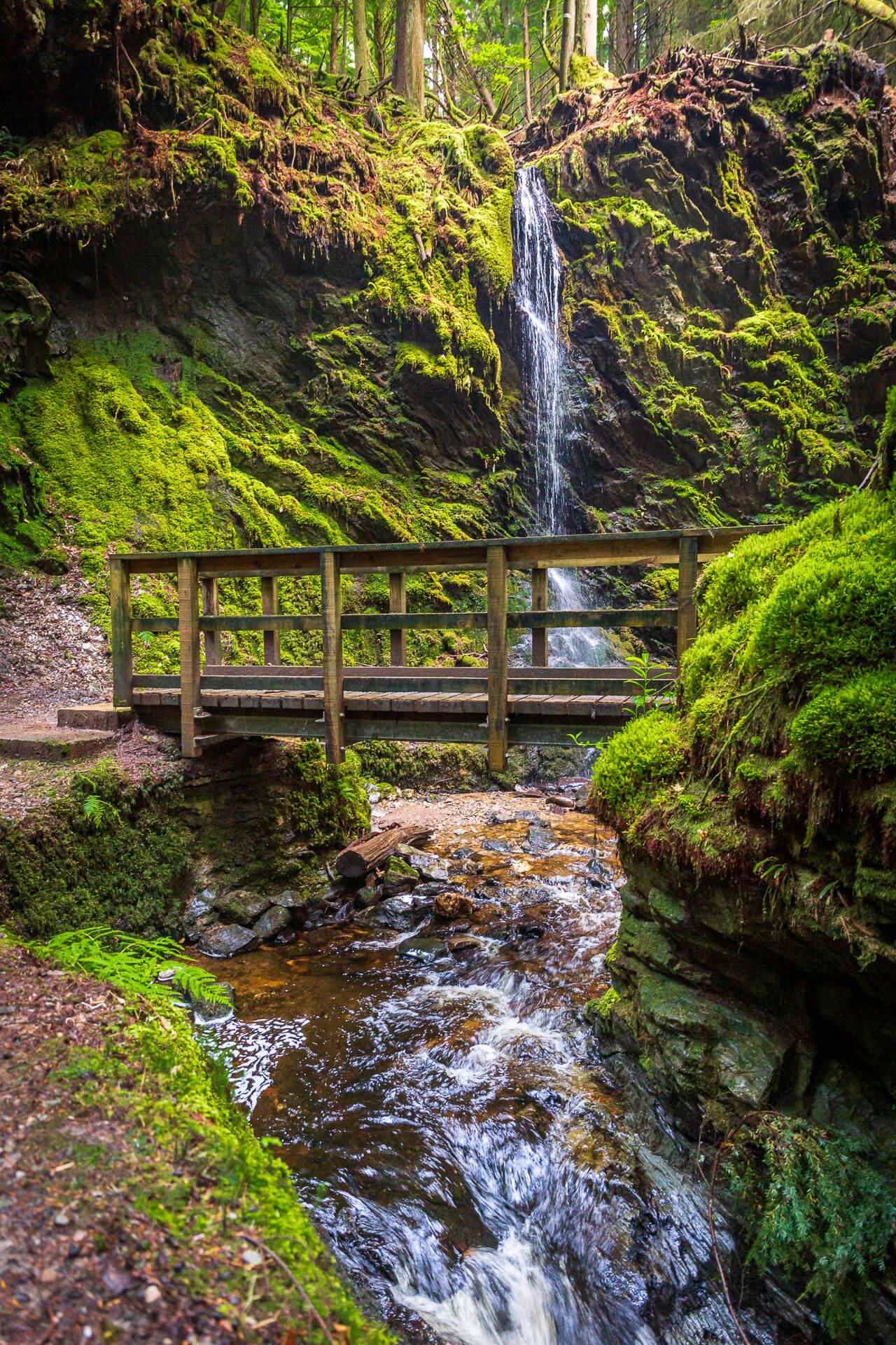 Wasserfall und Brücke im Puck's Glen