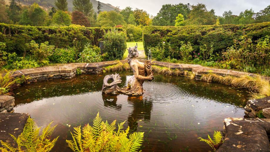 Teich im Garten beim Haus