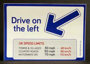 "Aufkleber ""Drive on the left"""